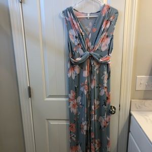Light Blue Floral Sleeveless Knot Front Maxi